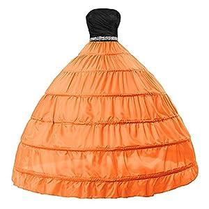 Edith qi Sottogonna Petticoats trascinamento, 6 cerchio, 2 strati, Petticoat Crinolina sottoveste, per Vestito Abito da Sposa, Multicolore