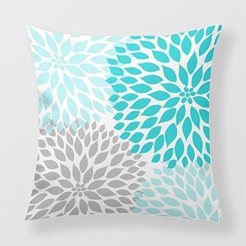 Cap clothes Decorative Throw Pillow Covers Turquoise Blue Gray Dahlia Decor Sofa Pillow Sham 18 x 18 Inches - Dahlia Sham