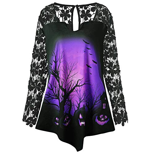 OverDose Damen 2018 Horror Style Frauen Halloween Hexe Bedrucktes Design T-Shirt Bluse Spitzeneinsatz Clubbing Party Slim Shirt Top