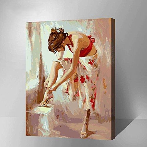 0 * 50 CM Ballett Tänzer Malen nach Zahlen Kit mit Pinseln und Farben für DIY Wandkunst Kunstwerk Geschenke(A7) (Nächste Diy-shop)