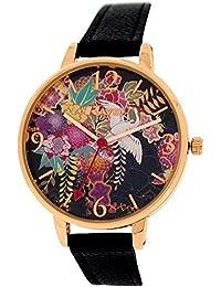 Montre Fantaisie Ravel Femme Ton Or Rose et Multicolore Bracelet Noir