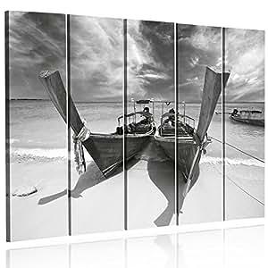 Feeby Frames, Grande Formato Quadro multipannello di 5 pannelli, Quadro su tela, Stampa artistica, Canvas XXL, Tipo C, 140x300 cm, PAESAGGIO, VISTA, ORMEGGIATE BARCHE, MARE, SPIAGGIA, NERO E BIANCO