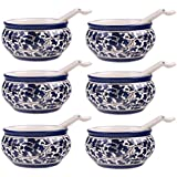 CRAFTGHAR Ceramic Soup Bowls Set With Spoons(Blue) - Pack Of 6