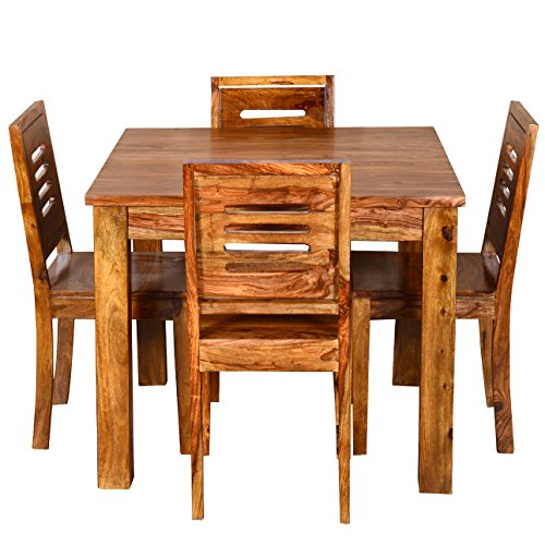 Ringabell Square Four Seater Solid Wood Dining Table (Brown)