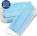 50 Stück Einweg OP-Maske Gesichtsmaske 3-lagig Mundschutz Staubschutz Infektionsschutz Schutzmaske Atemschutzmaske mit Ohrschlaufen schützt vor Verschmutzungen (Blau) (30)