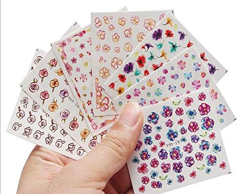 Cosanter 9 Stück Blume Nagelaufkleber Vinyls Nail Art Maniküre Schablone DIY Nagel aufkleber, selbstklebende, 62mm*52mm (Tattoo Vinyl-aufkleber)