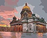 Pintura por Kits de Números para Adultos Niños Catedral de Berlín Pintura Al Óleo DIY Pinturas Manuales de Arte Decoración de Regalos 16x20 pulgadas Sin Marco