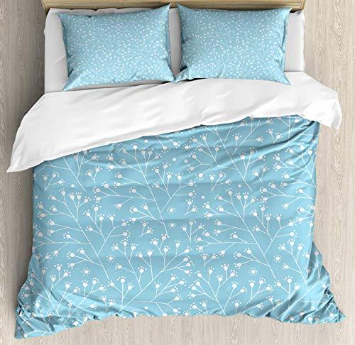 CHI Hellblau Bettbezug Set Doppelbett, Baum Zweige Blüten Knospen, Kuscheligform Top Qualität 3 Teiligen Bettbezug mit 2 Kissenbezüge, Hellblau Weiß