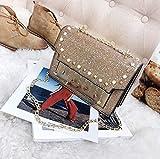 Tasche weibliche Welle koreanische Version der Wilden Pailletten Kette Messenger Tasche Super Fire Girl Schulter Models Tasche Cross-Body Tasche, Multi-Farbe optional,Gold