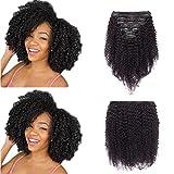 Extension a Clip Cheveux Naturel Bouclé Noir Naturel - Tissage Bresilien Bouclé en Lot avec Clips - Rajout 100% Cheveux Humain - 12'-105g