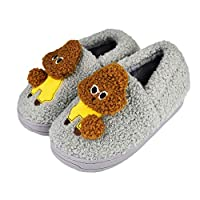 Tirzrro Kids Cute Poodle Dog Slippers with Warm Plush Fleece House Slip-on Shoes Grey Size: 12-13 Little Kid