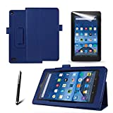 MOFRED® New (Kindle) Fire 7' 2015 Blue Case - Slim Fit Folio Premium Leather Standing Case for the Amazon Fire 7 inch Display Tablet (5th Generation - 2015 Release Only) + Screen Protector + Capacitive Stylus Pen (3 in 1)