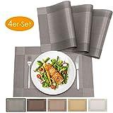 bellendo Tischset 4er Set - Platzset PVC Kunststoff: Abwischbar, rutschfest - Platzdeckchen Weihnachten, edel und elegant - 45 x 30 cm - grau (anthrazit)