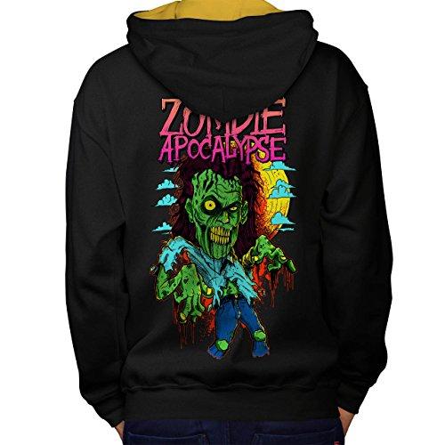 Zombie Apokalypse Horror Men M Kontrast Kapuzenpullover Zurück | (Asyl Apokalypse Zombie)