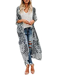 ccf13cb296207 TOPSPEED Women s Print Long Cardigan Bikini Swimwear Beach Swimsuit Smock  Cover Up