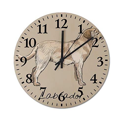Promini Illustration Zeichnung Stil von Katze Wanduhr Holz Zeit Uhr Nicht tickend leise Deko Wanduhr für Wohnzimmer Schlafzimmer Küche Dekoration 30,5 cm Runde Uhr 30x30x0.5cm C032