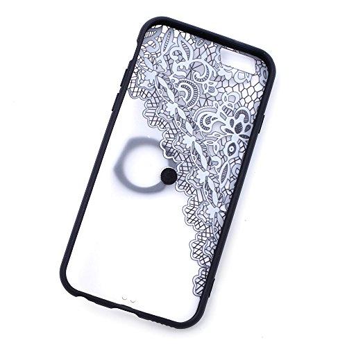 """iProtect Hardcase mit Ring Halter Marmor Design Schutzhülle in Schwarz mit Fingerhalterung für Apple iPhone 6 6s (4,7"""") Spitze"""