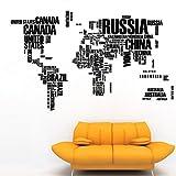 Wandtattoo Weltkarte Englische Buchstaben Wandaufkleber anziehbar PVC 45.5*75in farbig