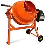 Festnight Stahl Betonmischer 220 W Zementmischmaschine 63 L 110 x 55 x 93,5 cm für Bauindustrie Mischarbeit - Orange