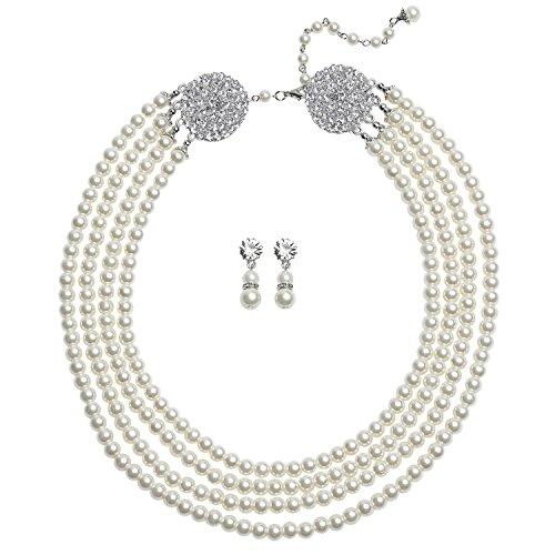 ArtiDeco 1920s Damen Halskette Hochzeit Braut Schmuck Accessoires Set Imitation Perlen Kette Retro Stil Armband und Ohrringe Gatsby Kostüm Zubehör (Original (Einfachste Kostüm)