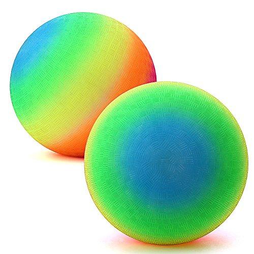 Zantec 8 Zoll Regenbogen Playball Schaum Spielplatz Kickball für das Spielen von Yoga, Training, Sport, Spielzeug Fußball für Kinder (Sport Themen Kostüm)