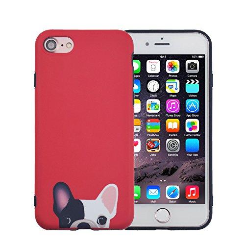 Facever cover iphone 6s, tenero bulldog francese opaco anti-impronta morbido silicone per ragazze cani divertenti custodia protettiva cover per apple iphone 6 6s da 4.7 pollici - rosso