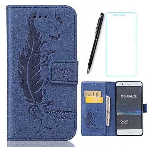 Preisvergleich Produktbild Huawe P9 Lite Hülle, Lotuslnn Handyhülle Huawei P9 Lite (5.2 Zoll) Schutzhülle Tasche mit MagnetverschlussMarine-Blau-Feder
