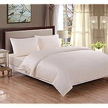Rayyan Linen Juego de funda nórdica y 2 fundas de almohada para cama tamaño super king, fabricado con polialgodón teñido liso, percal, color crema