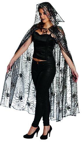 Tüll Spinnenumhang Gr. STD Cape Halloween Spinne Kostüm Fasching Kapuze Spinnennetz