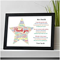 Personalised Thank You Teacher Gift STAR School Teacher TA Nursery Leaving Poem - Thank You Gifts for Teachers, Teaching Assistants, TA, Nursery Teachers - ANY RECIPIENT from ANY NAME - A5, A4, A3 Prints and Frames - FREE Personalisation