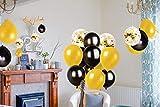 MMTX Luftballons Schwarz Gold Ballons 45 Stück Silvester Luftballons, Ballons Gold mit Gold Konfetti Luftballon für Damen Herren Geburtstag Deko, Deko Silvester 2019, Abschluss Halloween Party - 4