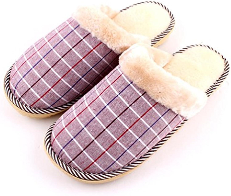 mhgao Home Interior antideslizante hombres cálido Casual zapatillas, 2, Large