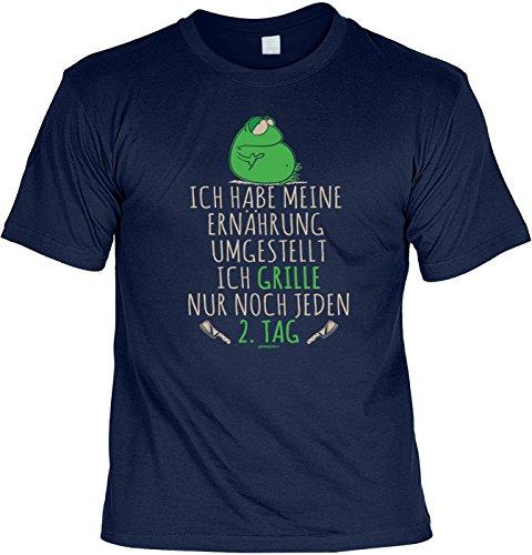 Spaß/Sprüche-Shirt/Fun-Shirt Thema Grillen: Ich habe meine Ernährung umgestellt Ich grille nur noch jeden 2. Tag Navyblau