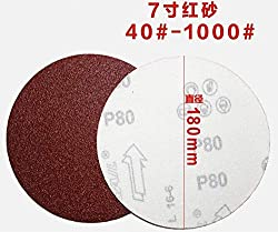 Terrarum 7 inch red Sand 180mm Disk Sandpaper Flocking Sandpaper Putty Powder Dry Sanding Paper self-Adhesive polishing Sheet - (Mesh, 60 Grit X 10PCS),100 Grit X 10PCS