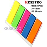 KESETKO Plastic Flags Sticky Page Dividers 45mm x 12mm, Pack of 125 Sheets Multi Color