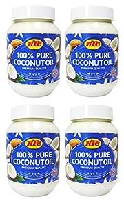 KTC comestible huile de coco cuisine 500ml / cheveux d'huile ou de massage (Lot de 4)