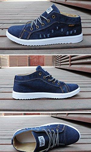 Gaorui Herren Jungen Skate Schuhe Snekaer High-top Sneaker Schnürhalbschuhe Jeansblau aus Canvas Dunkelblau