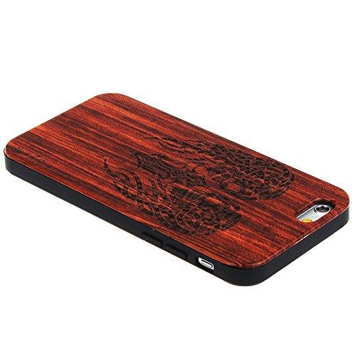 Forepin® Coque iPhone 6/6S en Bois Naturel + PC Anti-Choc Motif de Sculpté élégante Santal Réel Etui Couvert et Housse de Protection en Plastique Dur dans Protecteur pour Apple iPhone 6/6s 4.7 pouce ( Squelette