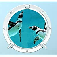 Red Parrot Graphics Penguin 1 Underwater Porthole Wall Art Sticker Decal Full Colour Print (Small 20cm x 20cm £3.99)