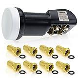 Hisattel 60521062 Quad LNB 0.1dB inklusiv 8 Stück F-Stecker Mehrfarbig