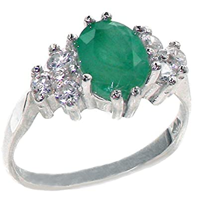 Sterling Silver Womens Emerald & 0.36ct 1/3ct Diamond Ring - Finger Sizes J to Z Available