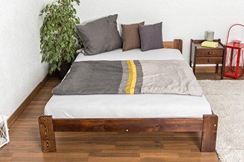 Massivholzbett / Gästebett Kiefer Vollholz massiv Nussfarben A8, inkl. Lattenrost - Abmessungen: 140 x 200 cm