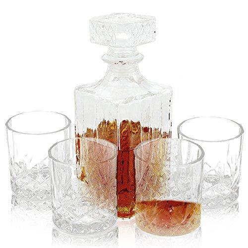 AIMONLIE Whiskyglas Set, Whisky-Set, Bar Craft Kristallglas Whisky Dekanter, Transparent, 5-Teilig,...