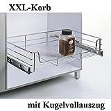 XXL-Korb, KB 60cm,Teleskopschublade, Küchenschublade, Tiefe 500mm, mit Kugelvollauszug