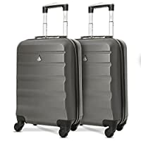 "Set of 2 Aerolite 21""/55cm ABS Cabin Hand Luggage"