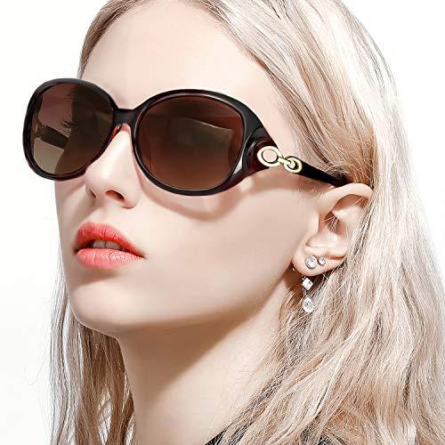 FIMILU Sonnenbrillen Damen Übergroß, Retro Designer-polarisiert Brille Frauen, 100% UVA/UVB Schutzle Frauen (Braun,braun)