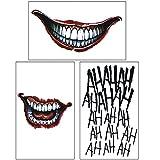 COKOHAPPY 3 Temporäre Tattoo Gesicht and für Kostüm Cosplay - The Joker Set