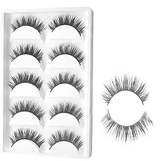 Nanshoudeyi 5 Pairs Natural Look Fake Eyelashes Handmade Messy Natural 3D Cross Fashion False Eyelashes Extension For Makeup Black