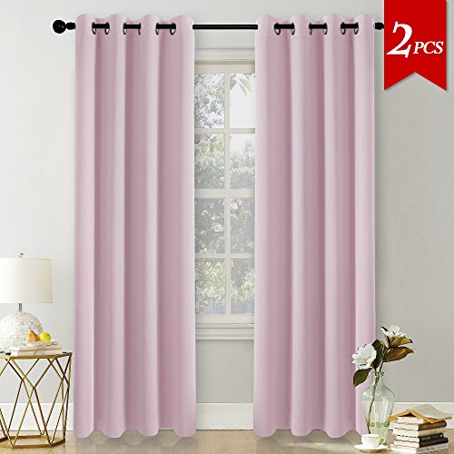 Pony dance tende per soggiorno rosa chiaro con ochielli cameretta bambina, 140 x 245 cm (larghezza x lungo), 2 pezzi