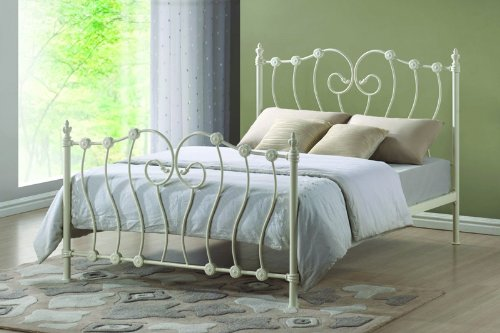 Victorian French 5ft King Size Ivory White Metal Bed Frame